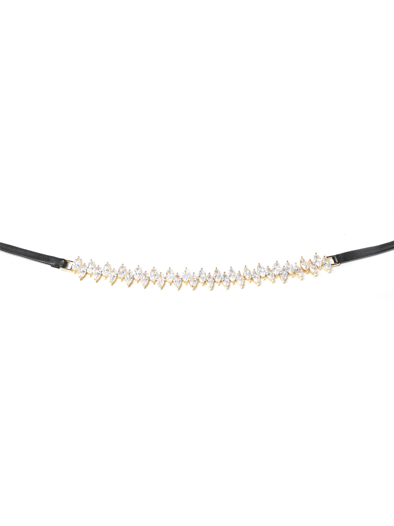 Fallon Monarch Jagged Edge Leather Wrap Choker