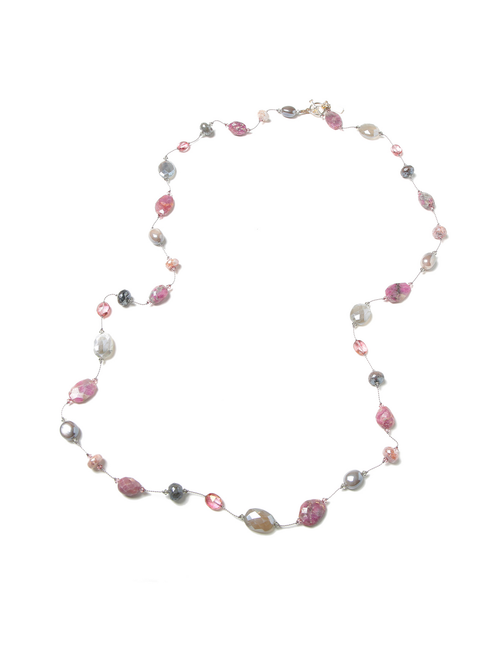 Margo Morrison Raw Ruby, Grey Moonstone & Pink Quartz Necklace 35""