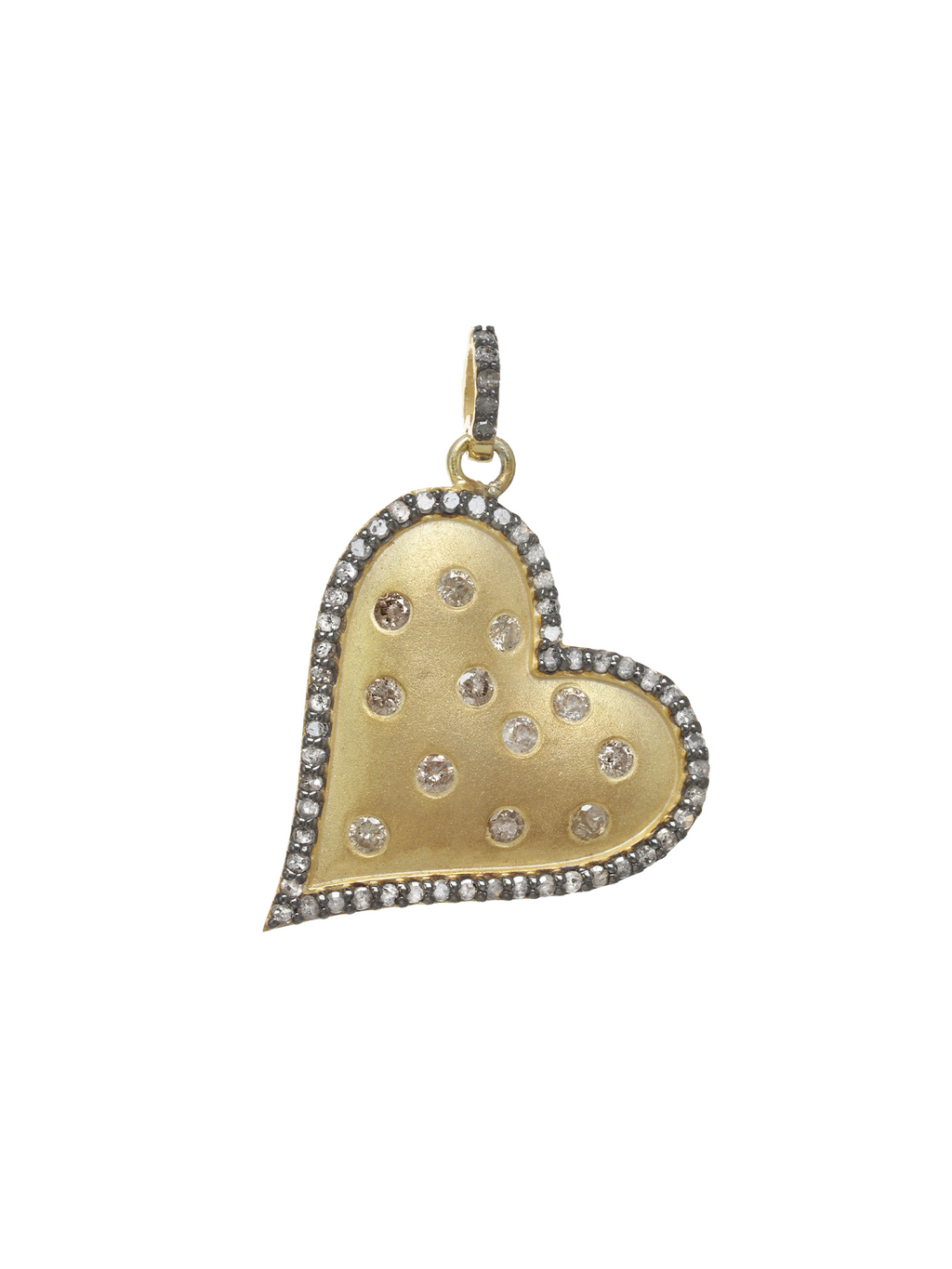 Margo Morrison Side Hanging Diamond Heart Charm - 18k Gold Vermeil