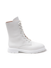 Stuart Weitzman Mckenzee White Crocodile Embossed Leather Combat Boots