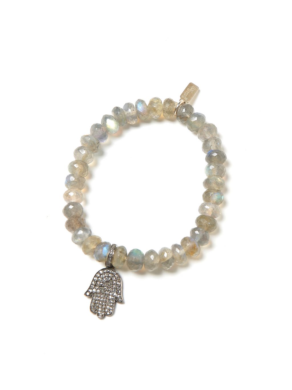 Margo Morrison Labradorite and Diamond Hamsa Charm Bracelet