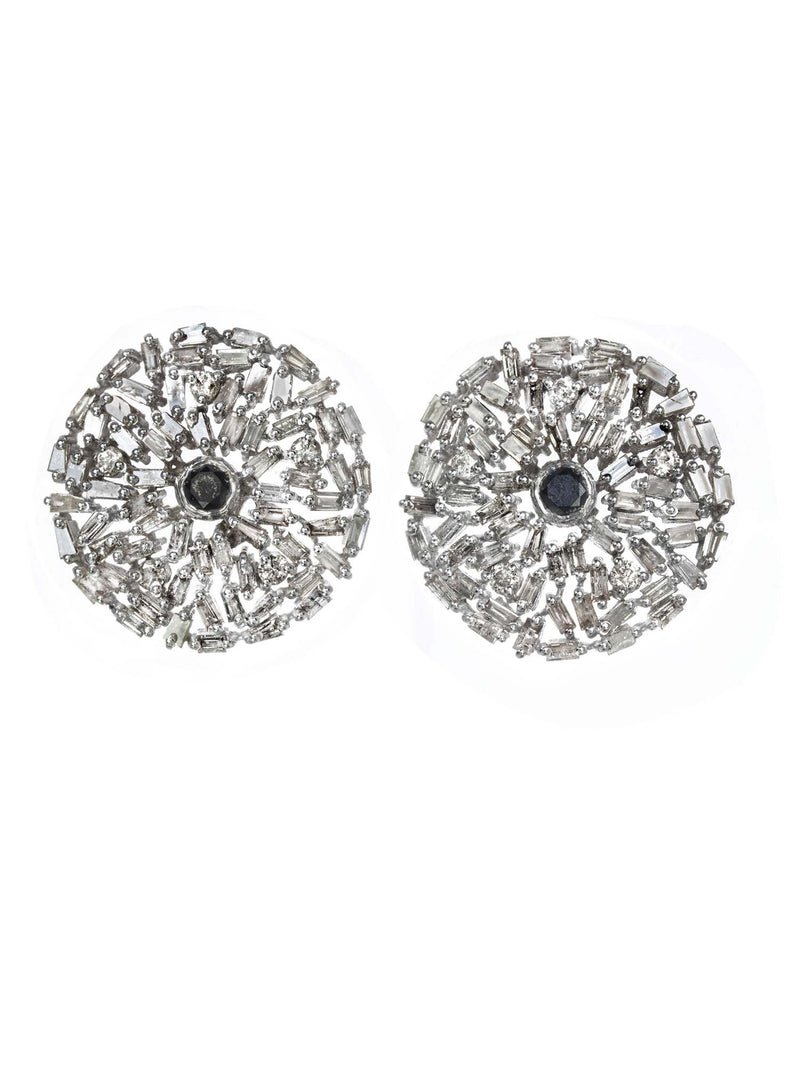 Margo Morrison Diamond Baguette and Sapphire Round Earrings