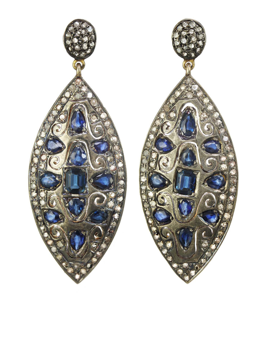Margo Morrison Blue Sapphire and Dimaond Encrusted Drop Earrings - One of a Kind
