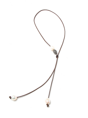 Margo Morrison Leather, Baroque Pearl and Crystal Lariat Necklace