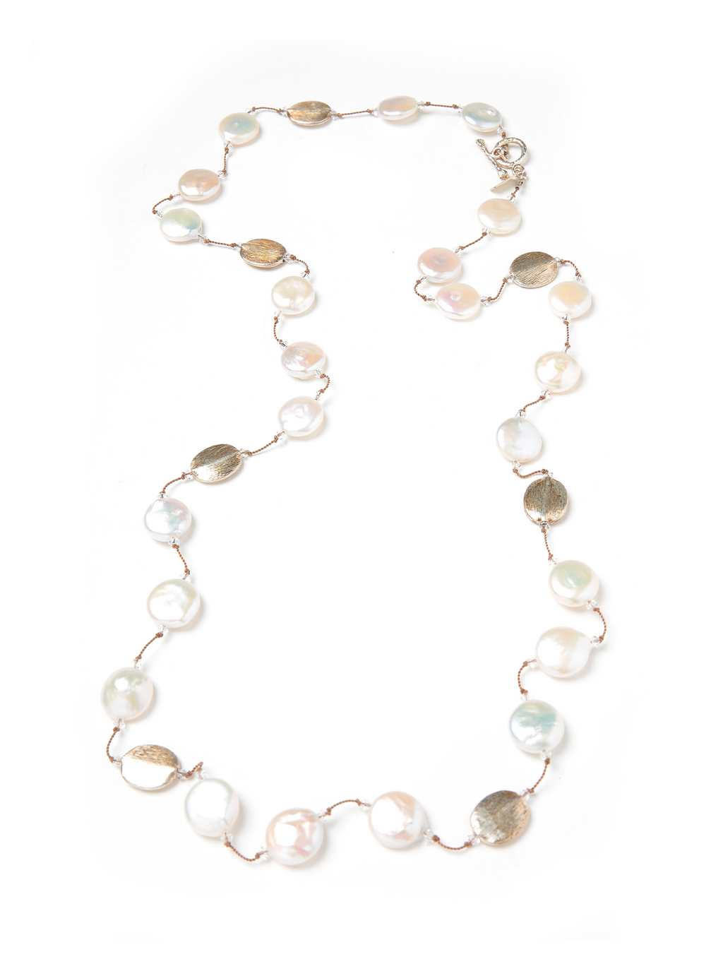 Margo Morrison White Coin Pearl Long Necklace with Silver Beads