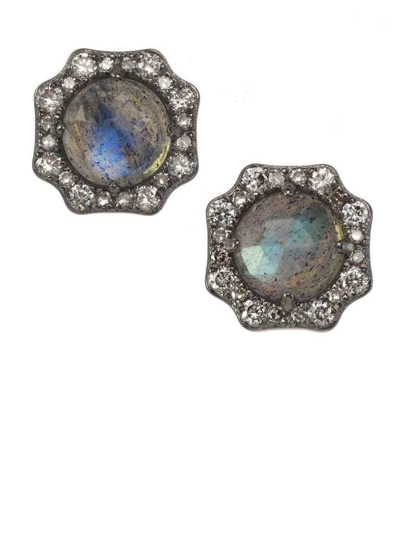 Margo Morrison Faceted Labradorite and Diamond Stud Earrings