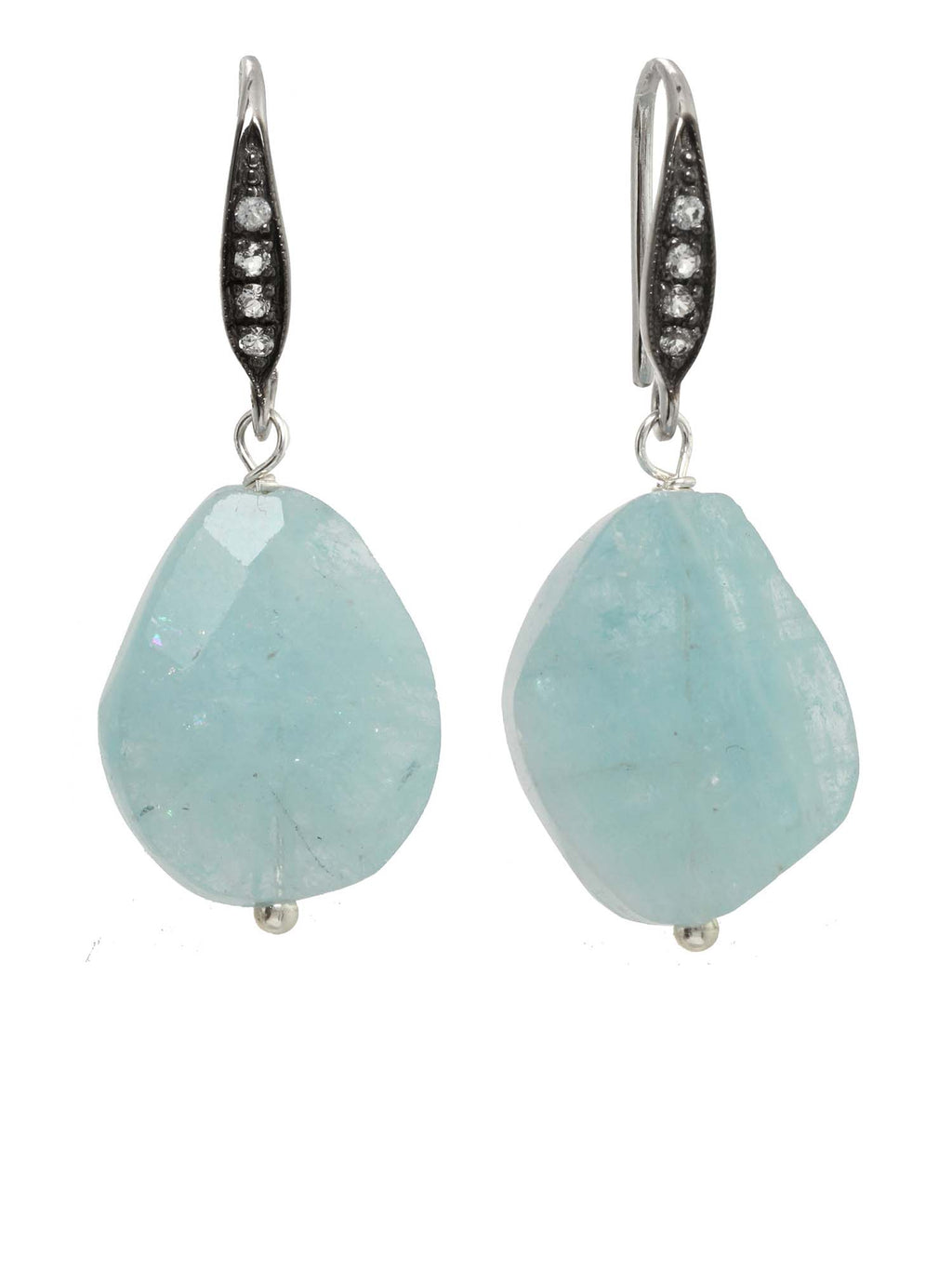 Margo Morrison Faceted Aquamarine and White Sapphire Gem Drop Earrings