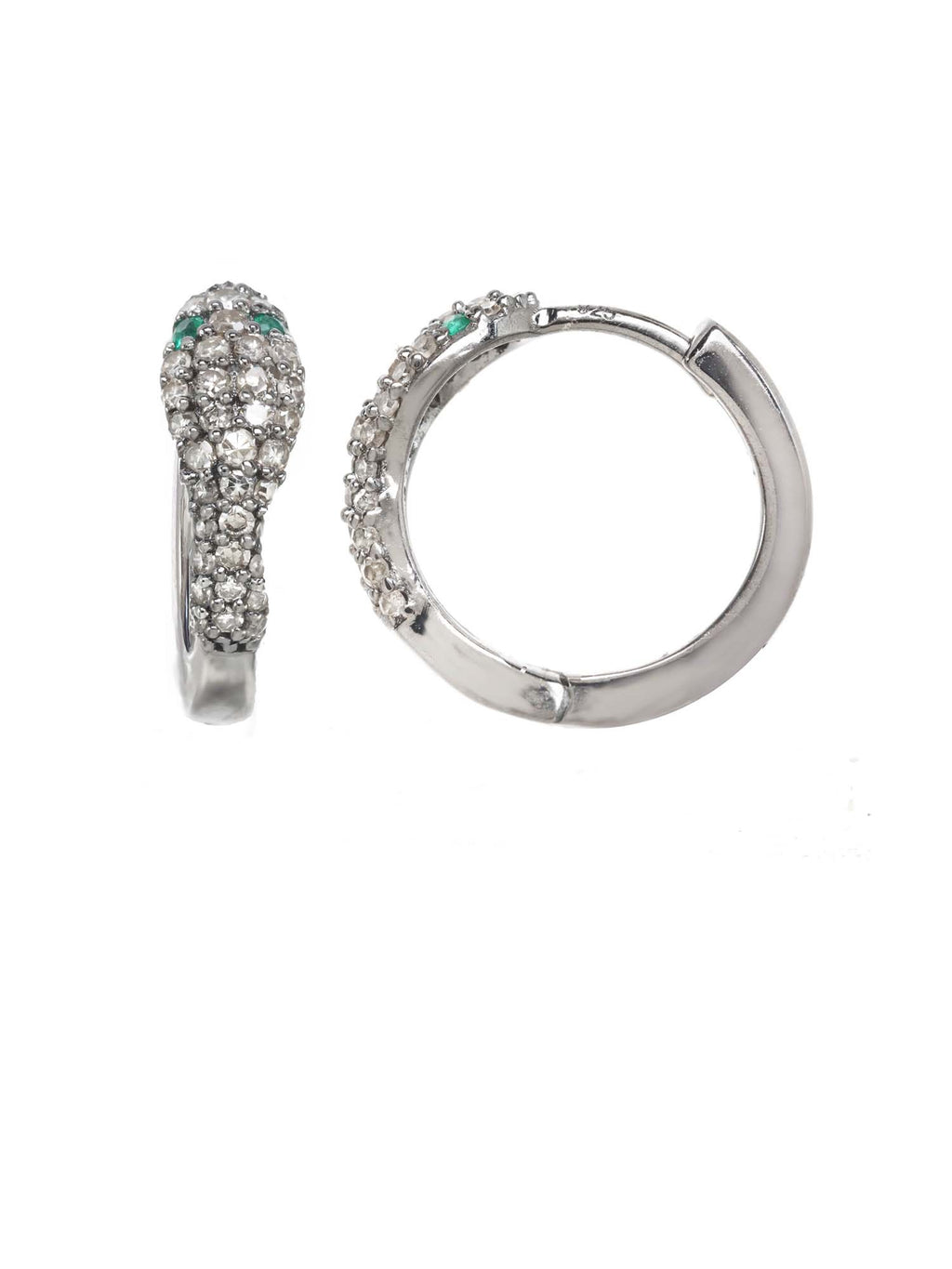 Margo Morrison Diamond and Emerald Snake Huggie Hoop Earrings
