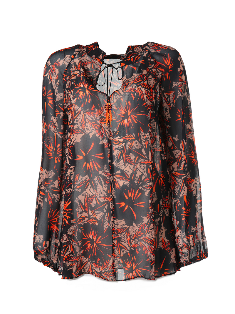 Dorothee Schumacher Exotic Flowering Tie Blouse - Red Ceramic