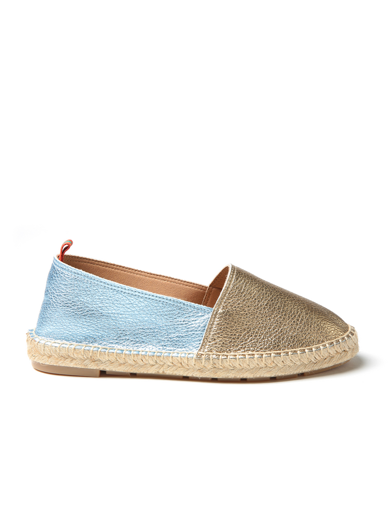 Penelope Chilvers Flat Leather Metallic Espadrille