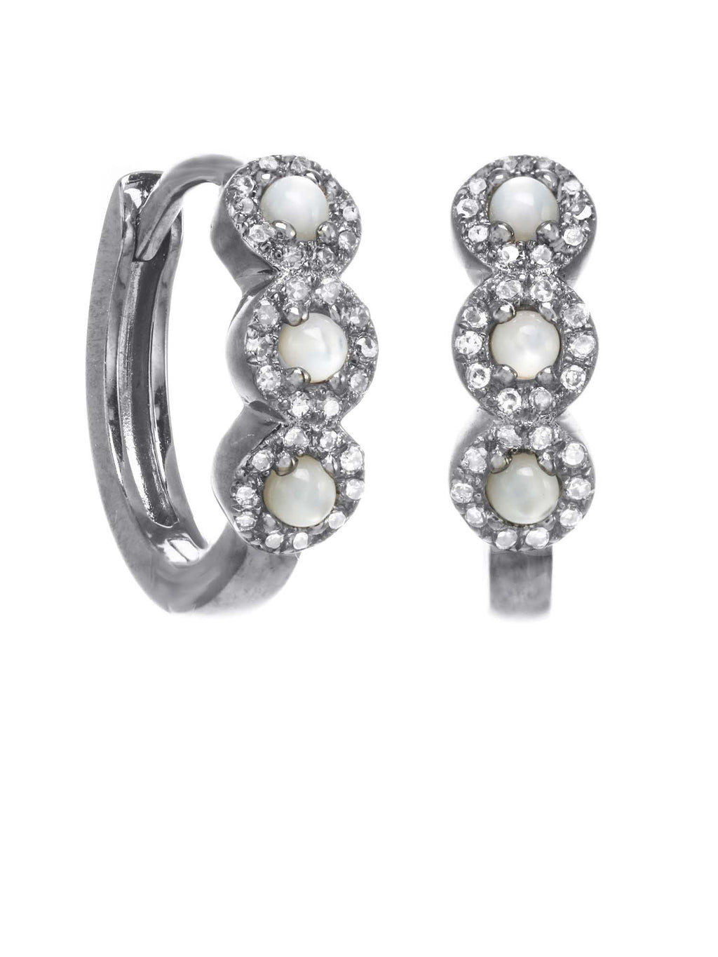 Margo Morrison Moonstone and Diamond Hoop Earrings - Sterling Silver