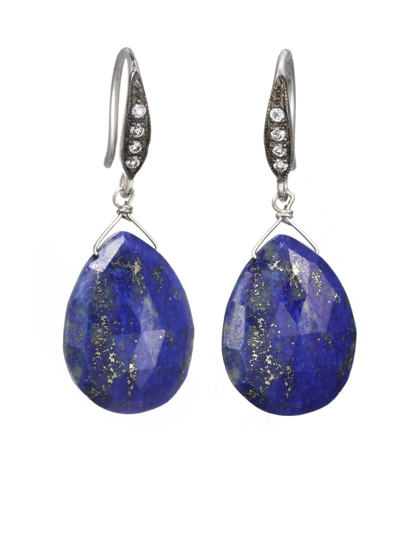 Margo Morrison Faceted Lapis and White Sapphire Teardrop Earrings