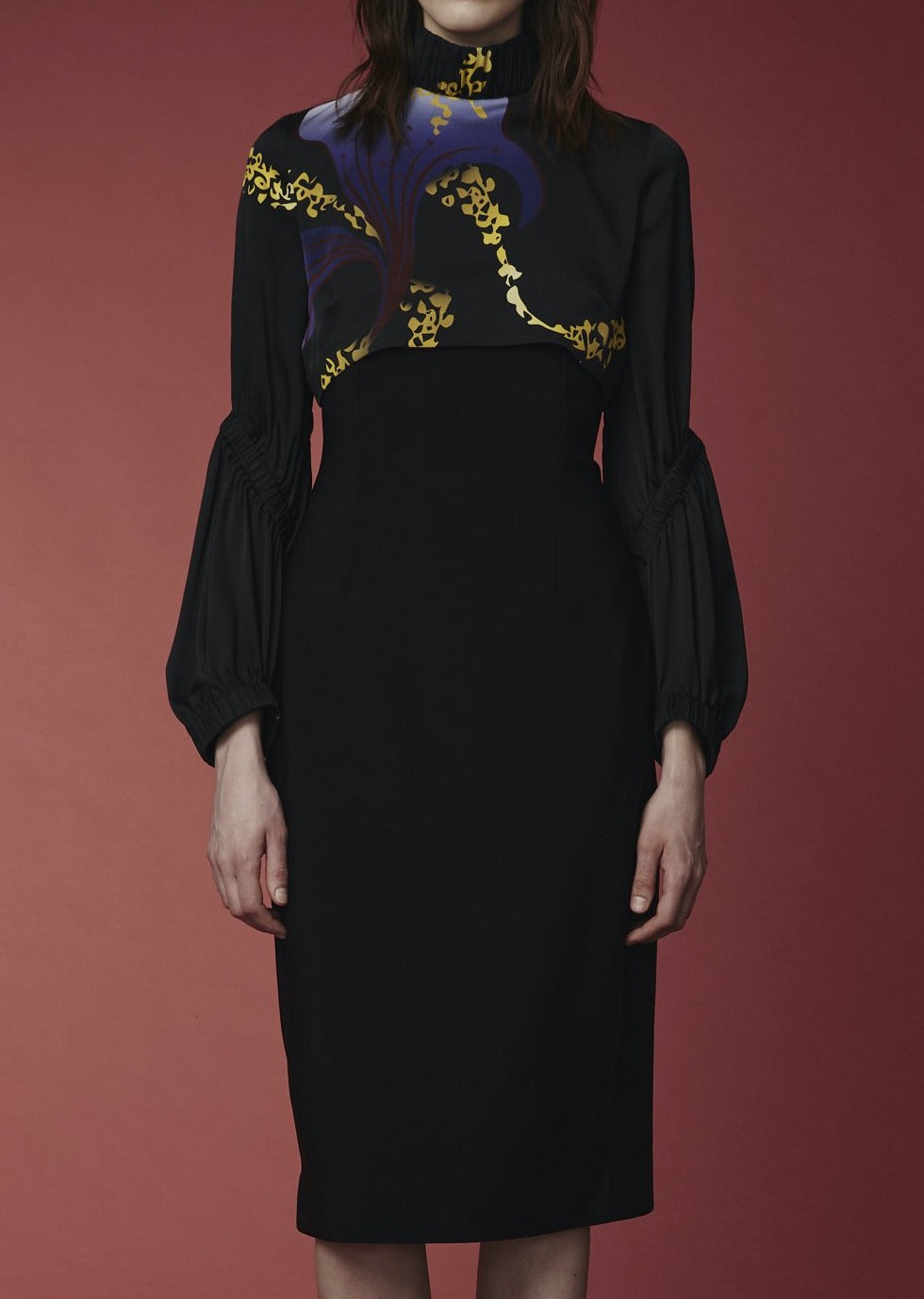 Mi Jong Lee Scuba Dress with Silk Blouse Detail