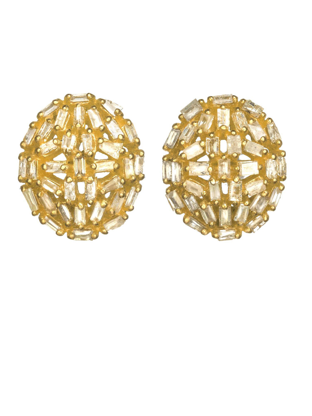 Margo Morrison Diamond Baguette Round Earrings