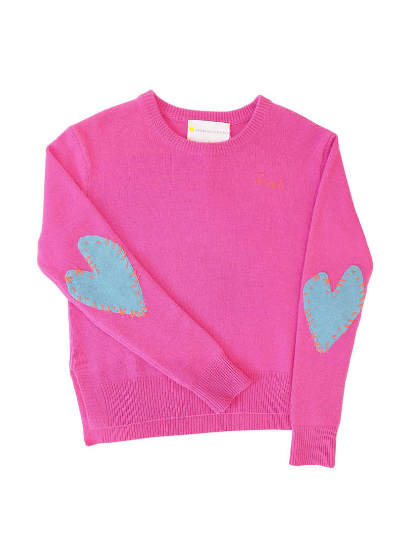 Kerri Rosenthal Patchwork Love Cashmere Sweater - Pop Pink & Dusty Blue