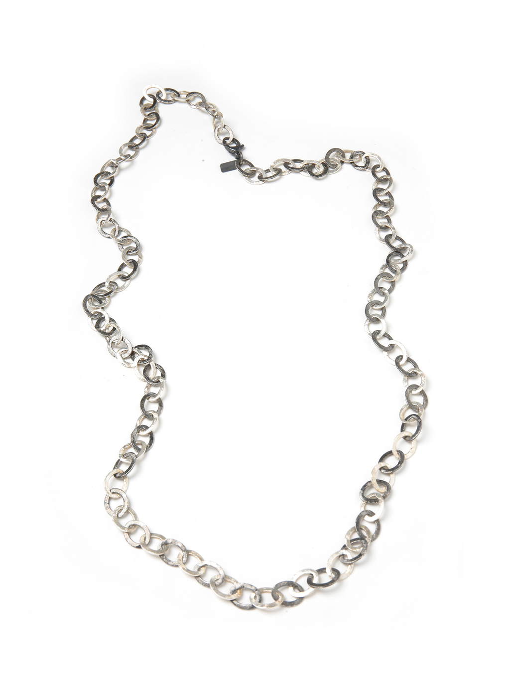 "Margo Morrison Matte Silver Two Tone 36"" Flat Link Chain Necklace"