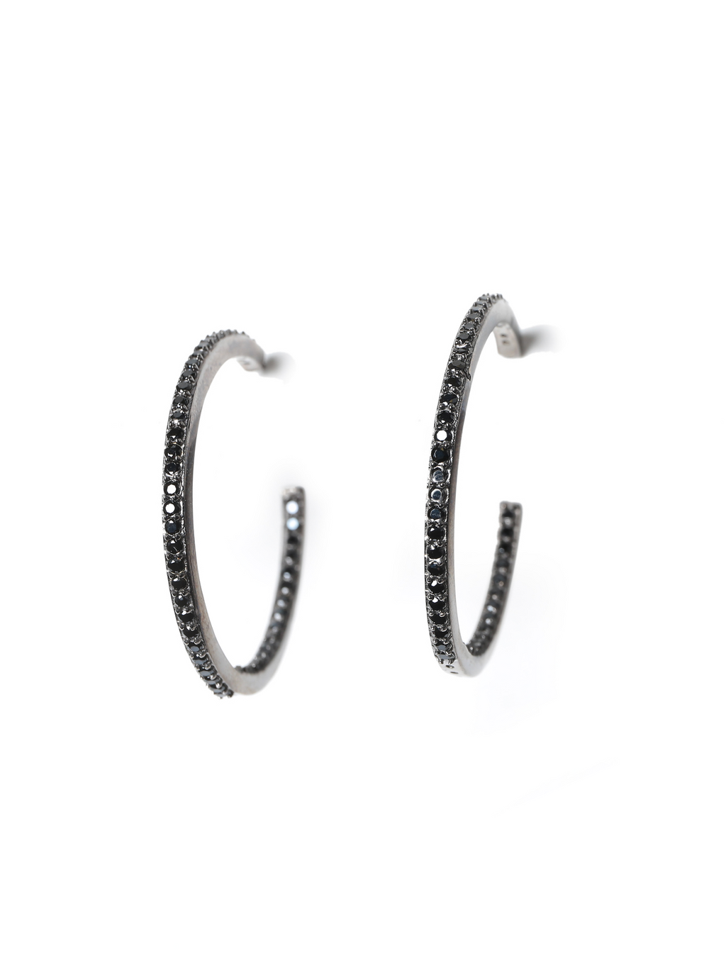 Margo Morrison Black Spinel Hoop Earrings