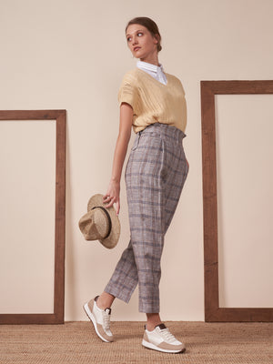 Peserico Trouser in Plaid Pure Linen