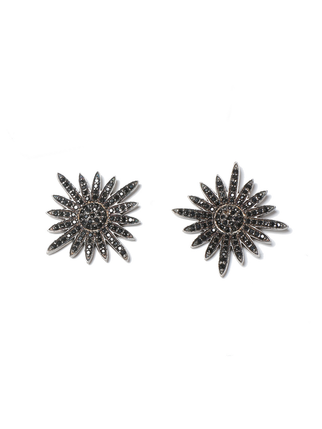 Margo Morrison Black Spinel Sunburst Stud Earrings