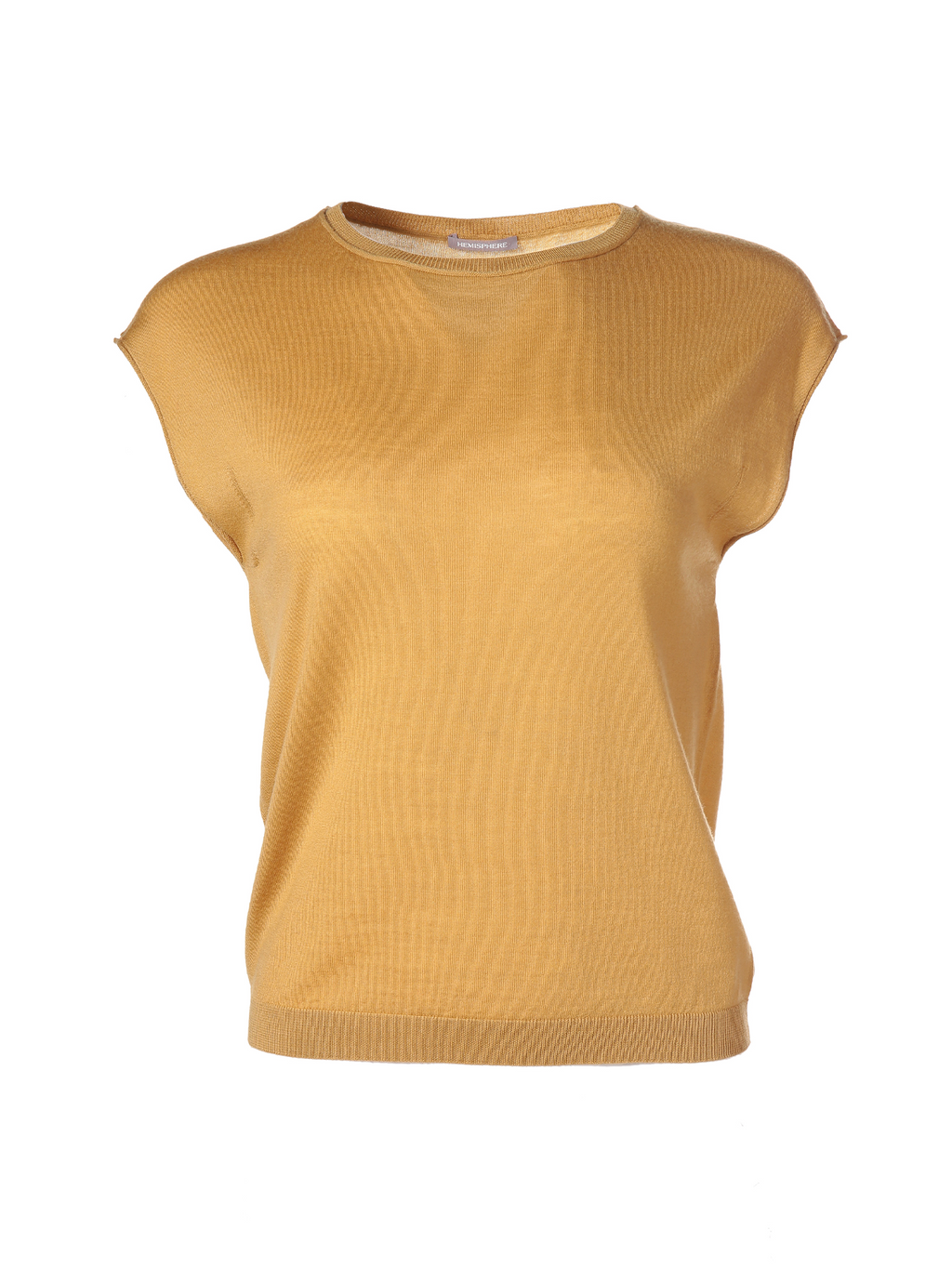 Hemisphere Cap Sleeve Round Neck Basics Top