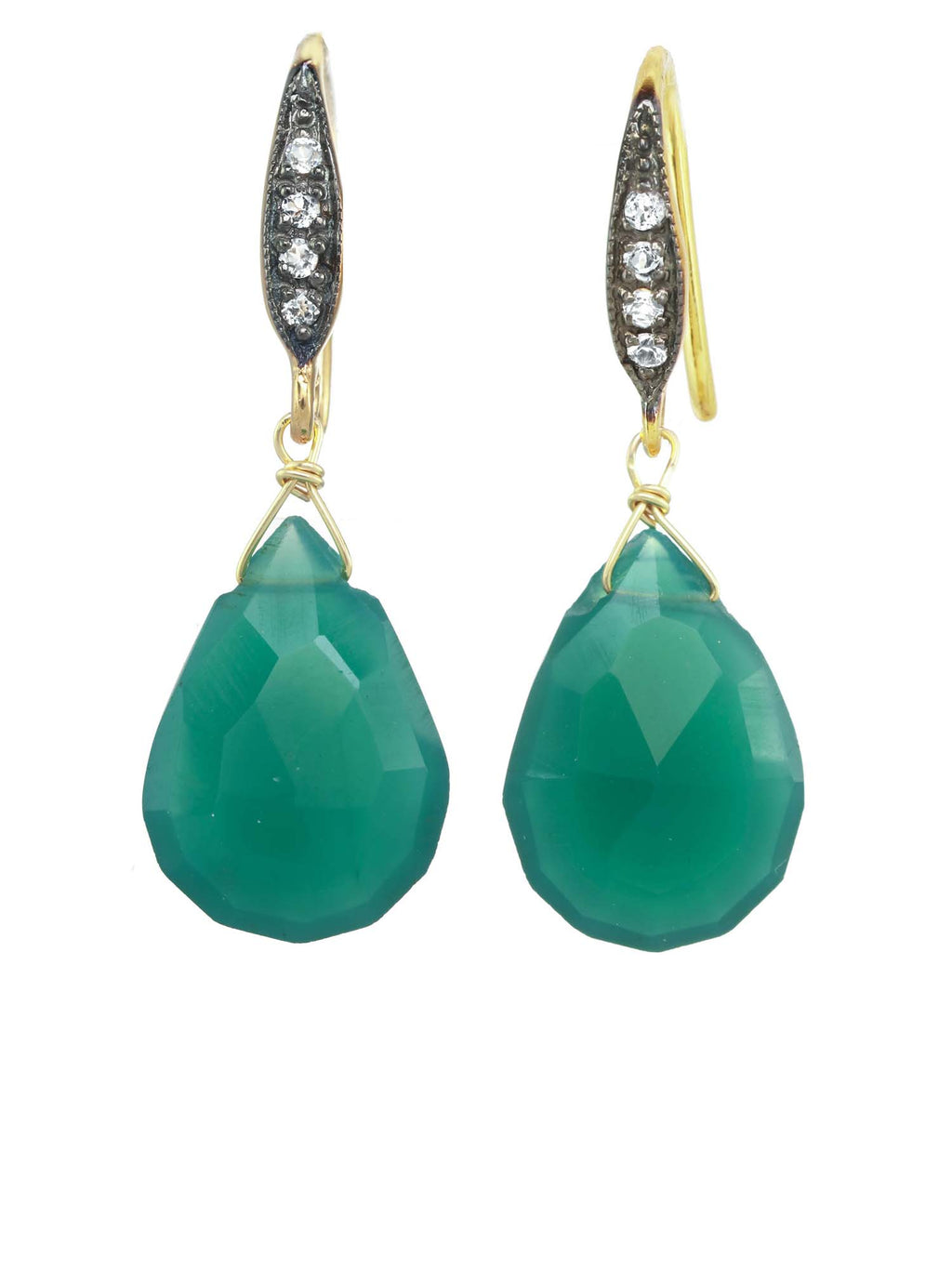 Margo Morrison Green Onyx and White Sapphire Teardrop Gem Earrings