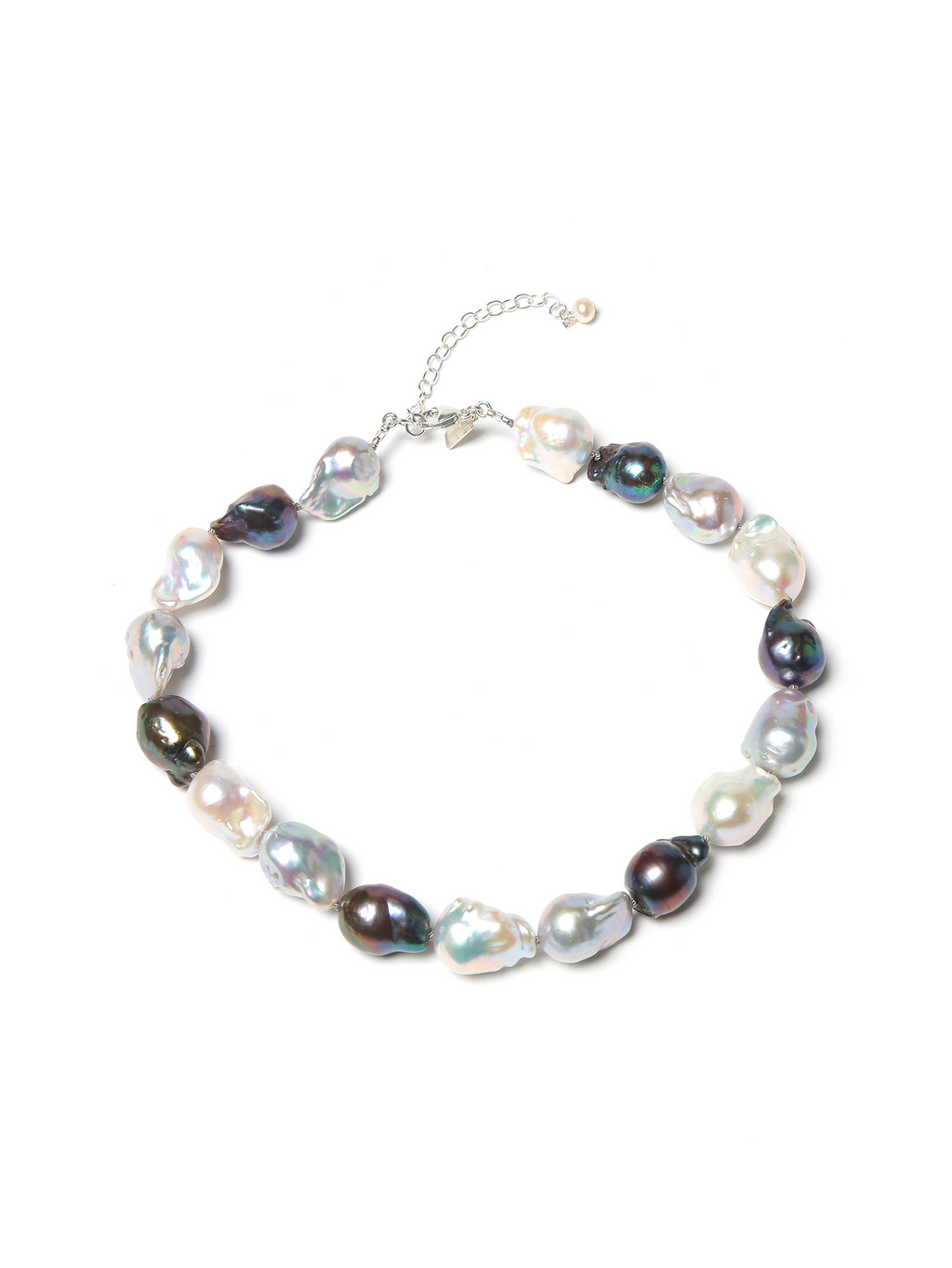 Margo Morrison Grey and White Baroque Pearl Necklace