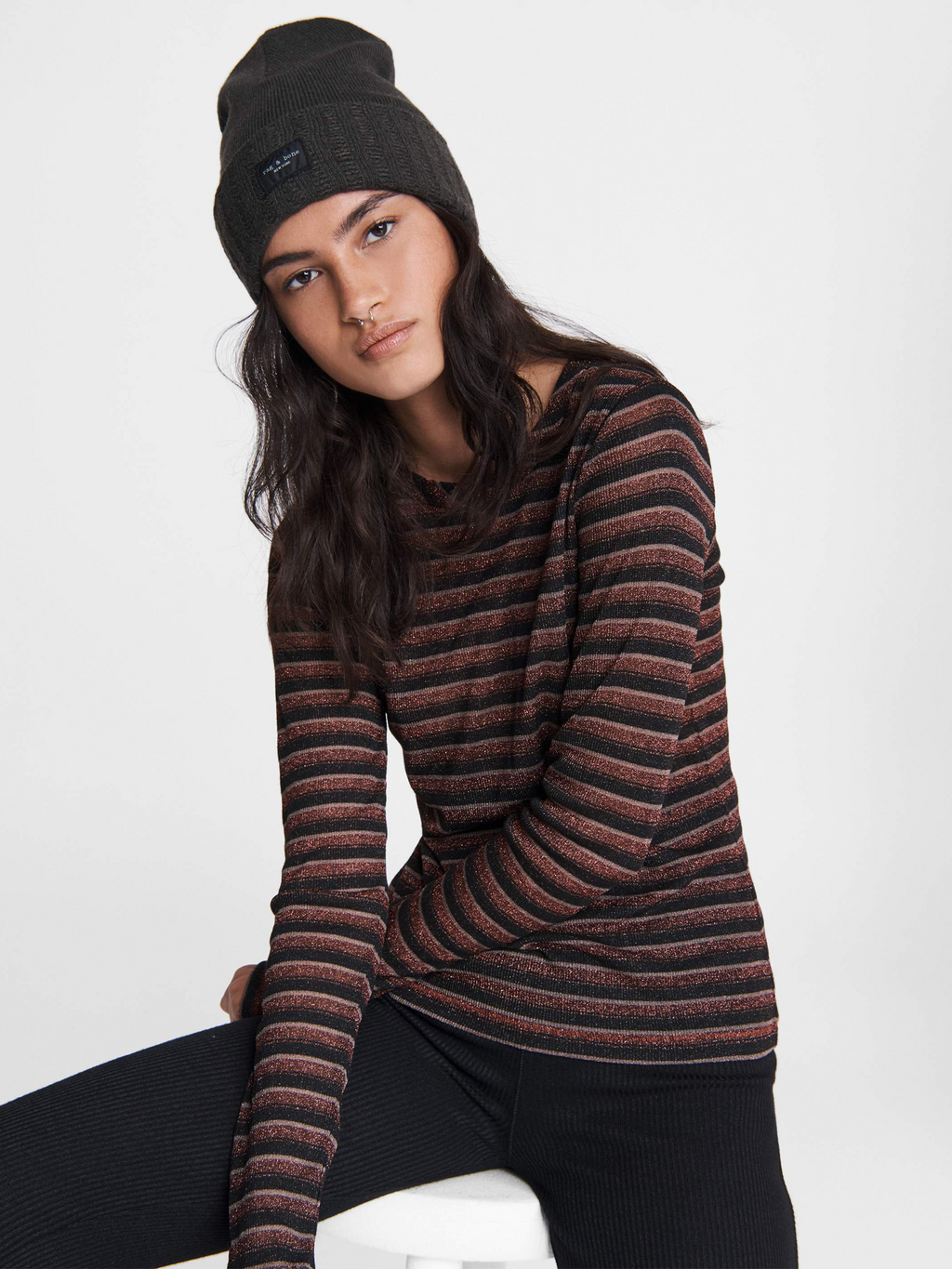 Rag & Bone Striped Metallic Long Sleeve Knit