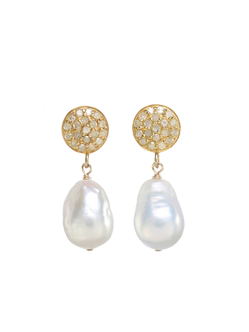 Margo Morrison Small White Baroque Pearl Drop Earrings- Diamond and 18k Gold Plated Sterling Silver