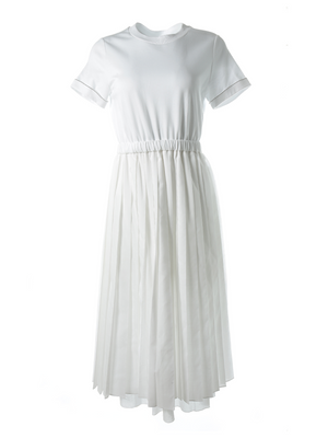 Peserico Pleated Gauzy Crew Neck T-Shirt Dress