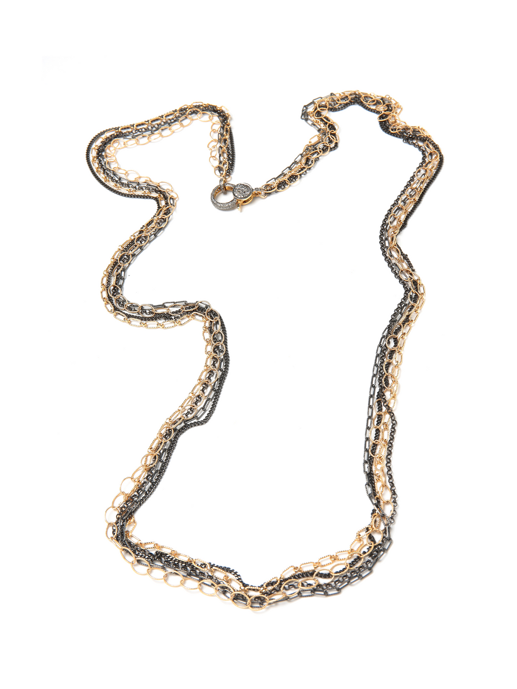 Margo Morrison Gold & Silver 5 Chain Combo with Diamond Clasp