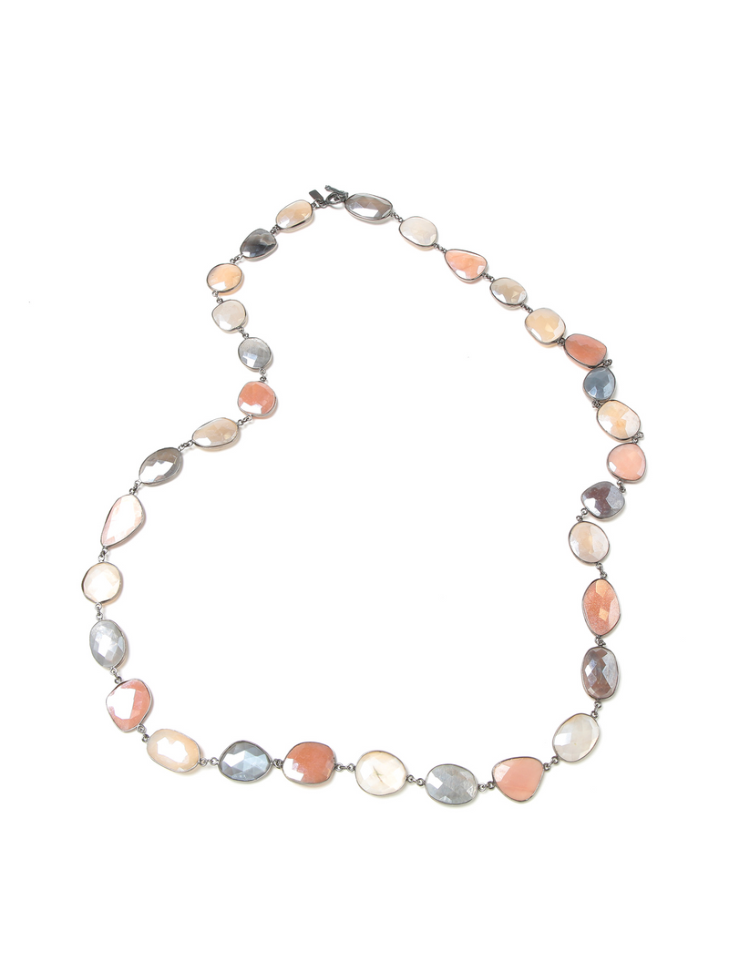 Margo Morrison Faceted Mystic Moonstone Necklace 35