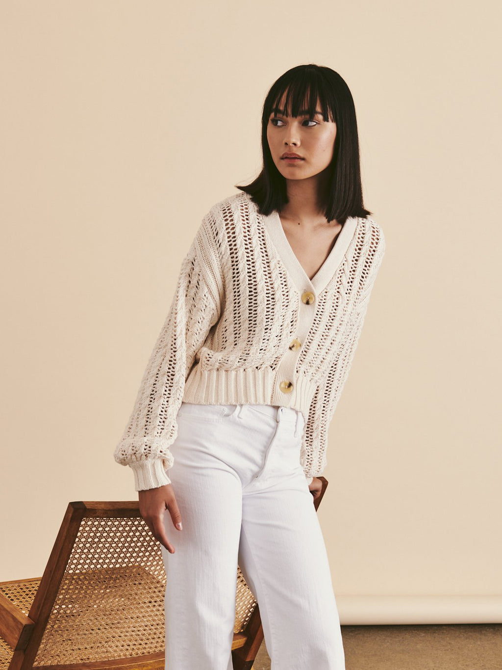 Line Galia Cardigan Sweater - Seashell