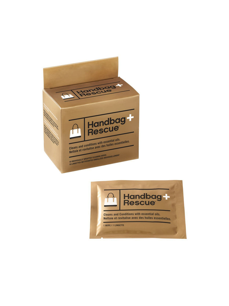 Handbag Rescue All-Natural Cleaning Wipes - Box of 10 Individually Wrapped Wipes