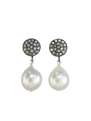 Margo Morrison Small White Baroque Pearl Drop Earrings - Diamond and Sterling Silver