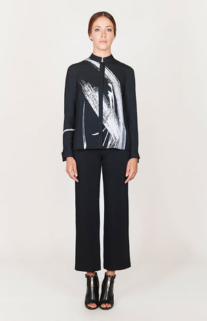 Mi Jong Lee Abstract Brush Print High-Low Mandarin Collar Blouse - Capsule 2