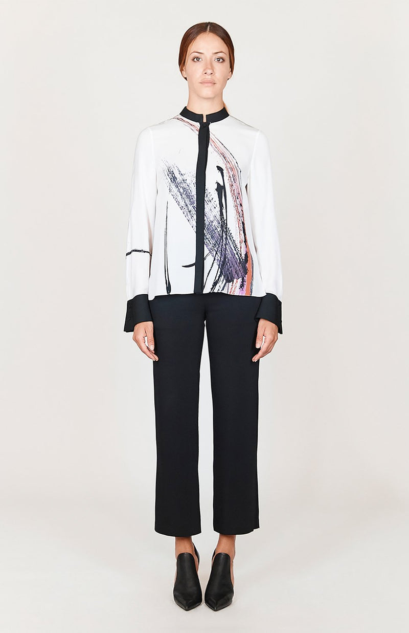 Mi Jong Lee Abstract Brush Print High-low mandarin collar w/ relaxed sleeve - Capsule 2