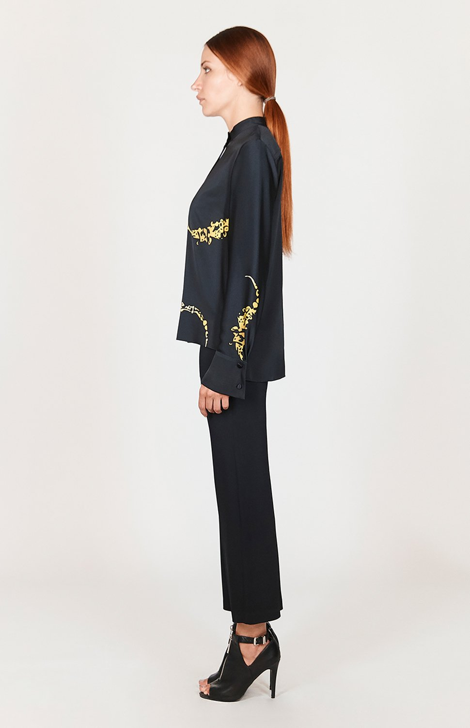 Mi Jong Lee Macro Flora High-Low Mandarin Collar Blouse w/Relaxed Sleeve - Capsule 1