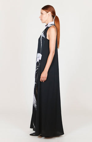 Mi Jong Lee Abstract Brush Print High Neck Trapeze Gown - Capsule 2