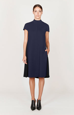 Mi Jong Lee Stretch Base High Neck Cap Sleeve Swing Dress - Basics