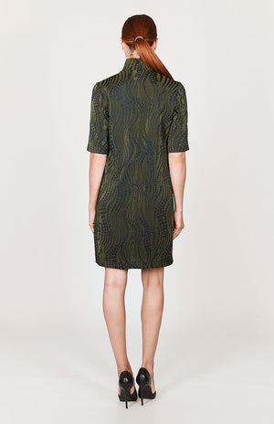 Mi Jong Lee Dotted Wave Short Sleeve Shift Dress w/ Turtleneck - Capsule 1