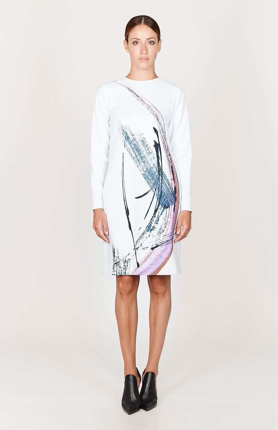 Mi Jong Lee Abstract Brush Print Crew Neck Shift Dress - Capsule 2