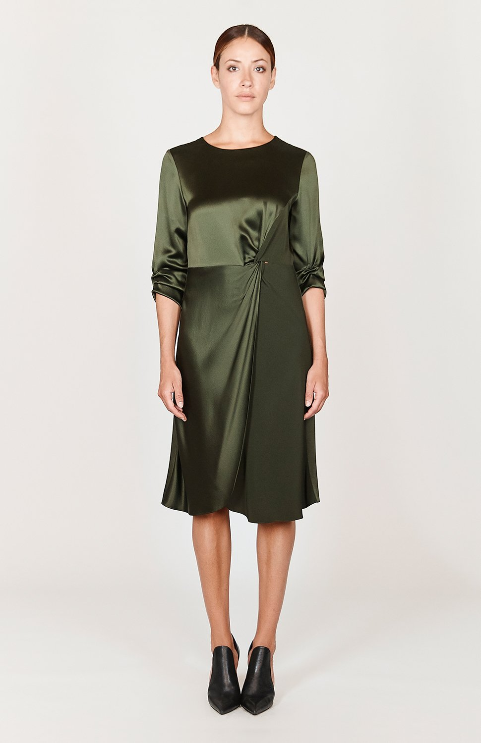 Mi Jong Lee Satin Faux Wrap Two Tone Dress - Capsule 1