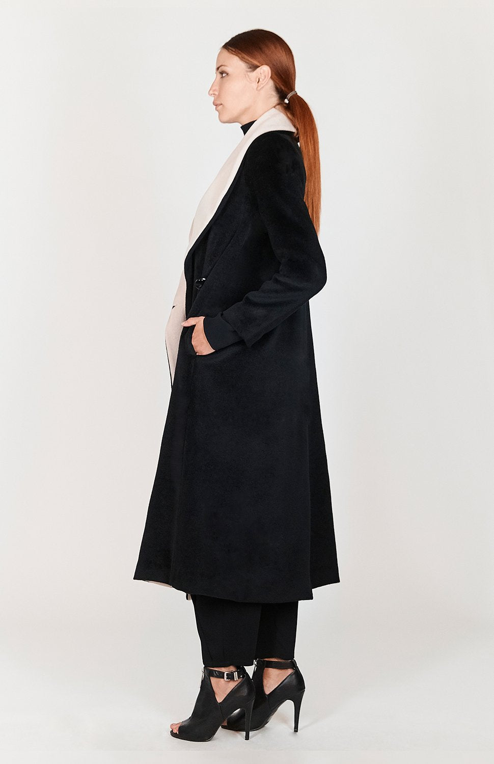 Mi Jong Lee Long Draped Collar Coat - Capsule 2