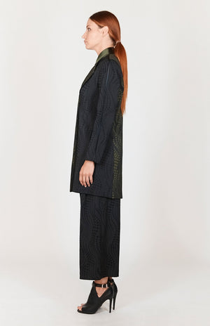 Mi Jong Lee Dotted Wave Color Blocked Wrap Duster - Capsule 1