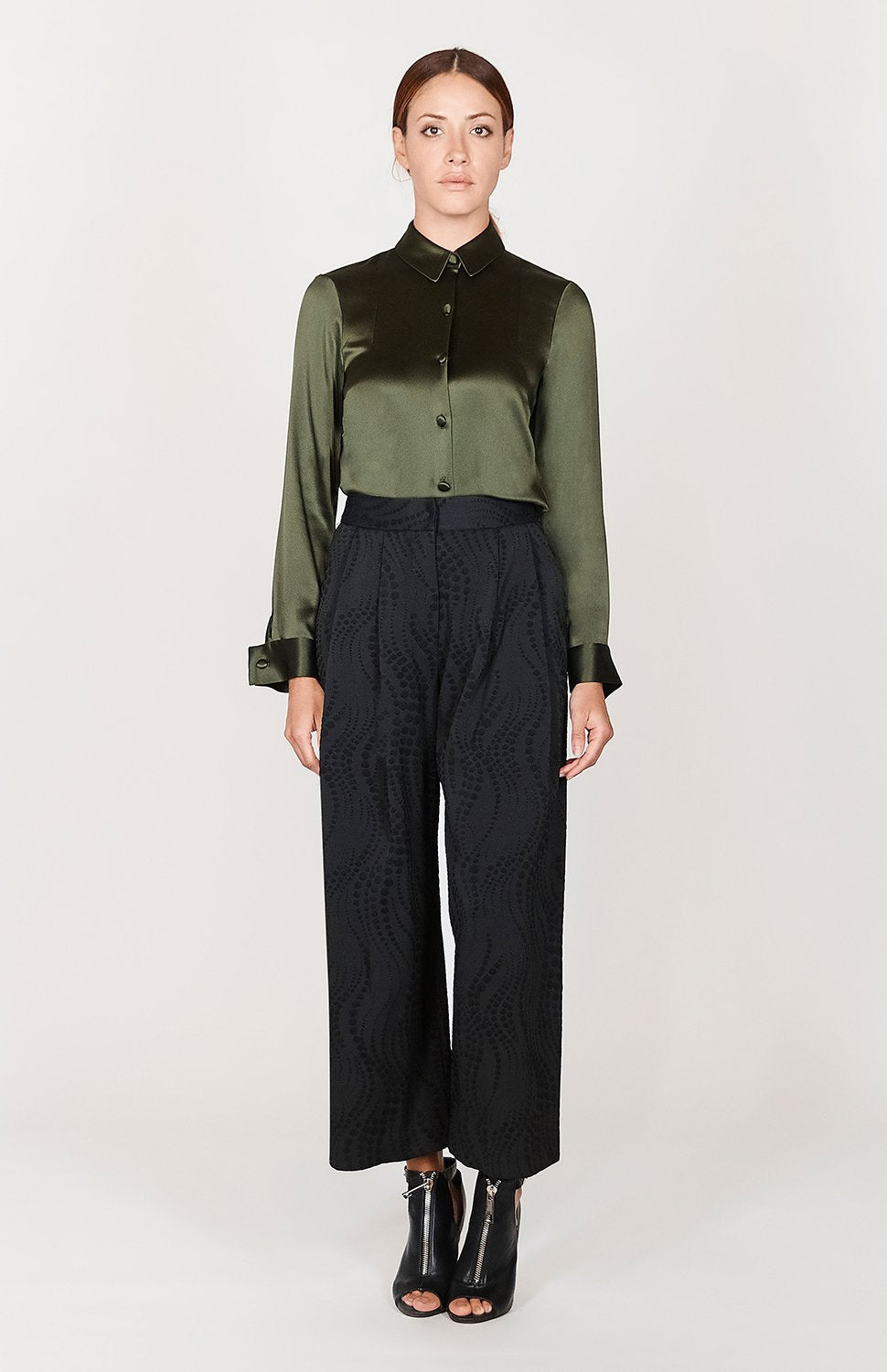 Mi Jong Lee Dotted Wave Wide Pleated Pants - Capsule 1