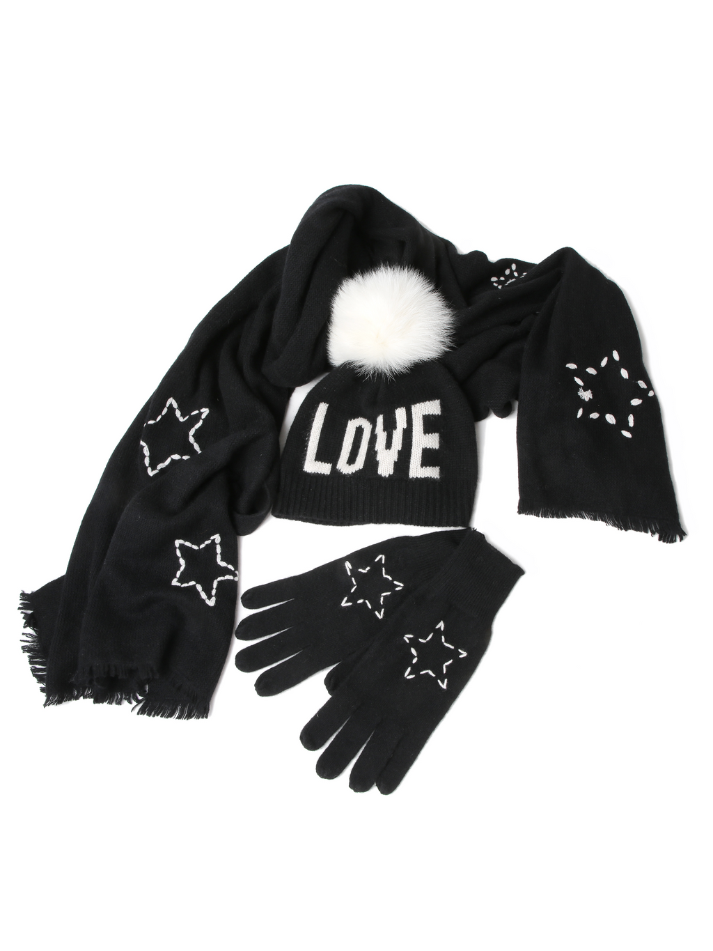 Skull Cashmere Star Embroidered Scarf
