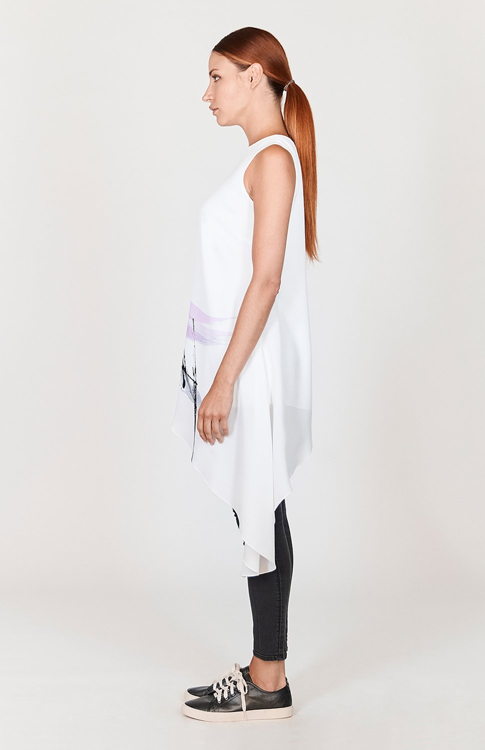 Mi Jong Lee Abstract Brush Print Asymmetric Tunic - Capsule 2