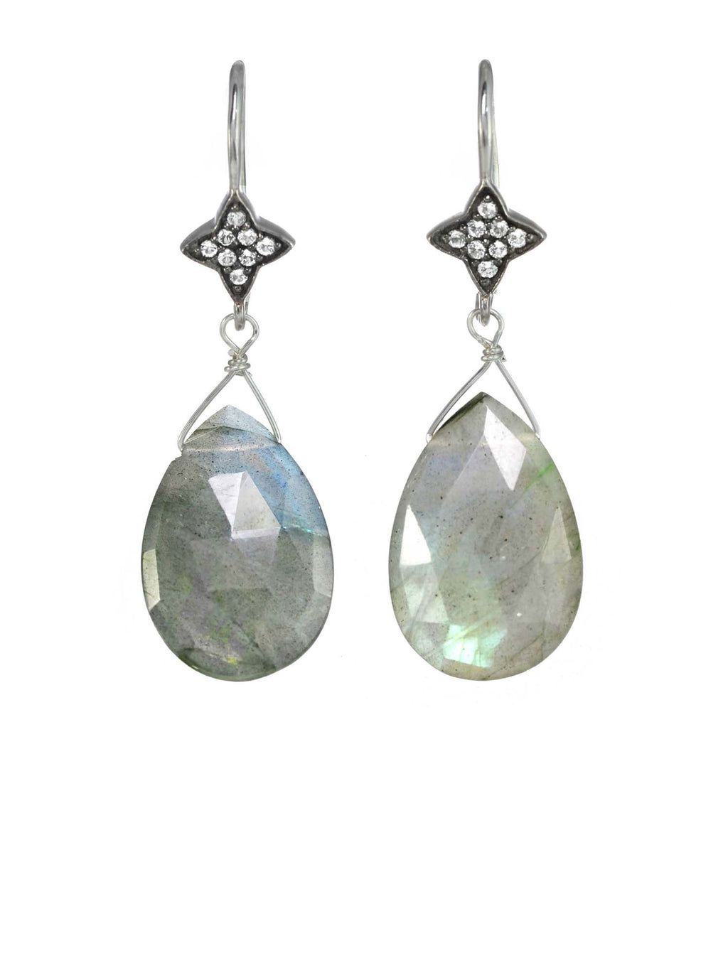 Margo Morrison Faceted Labradorite and White Sapphire Teardrop Gem Earrings