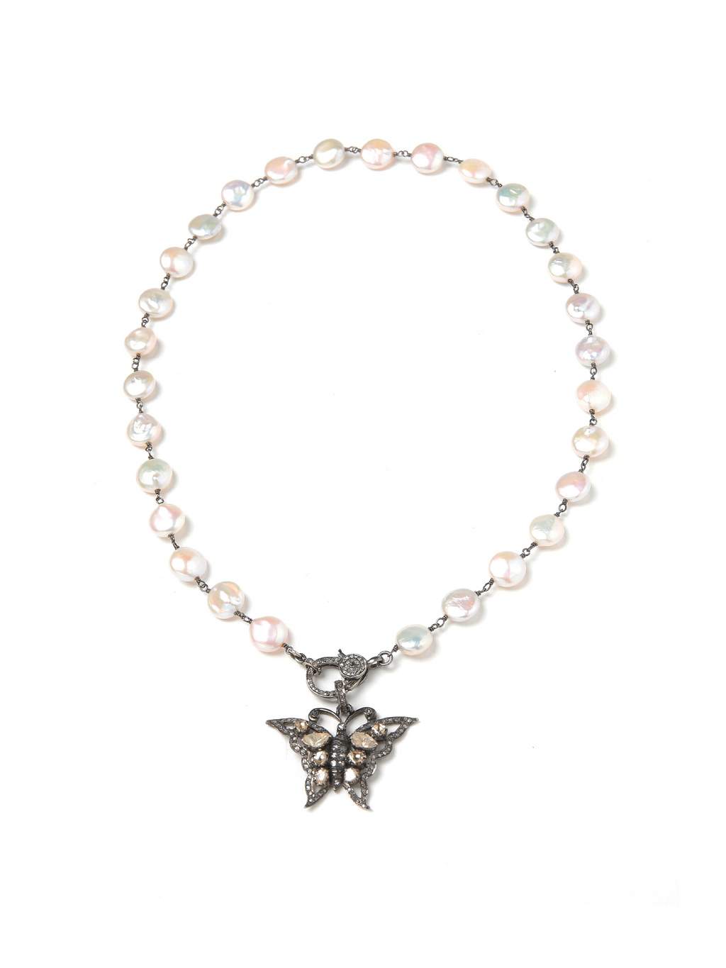 Margo Morrison White Freshwater Coin Pearl Necklace with Diamond Clasp