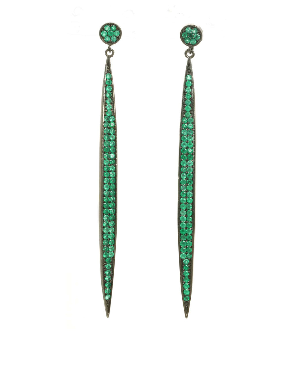 Margo Morrison Green Onyx Long Line Earrings